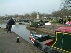 operating the lock for canal boats in Stratford upon Avon